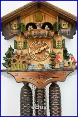 8 DAY CUCKOO CLOCK musical automaton DANCERS, WATERWHEEL, FORESTERS Hubert Herr