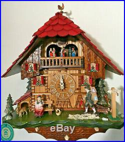 8-Day Mechanical Musical Cuckoo Clock Revolving Dancers & Moving Clock Peddler