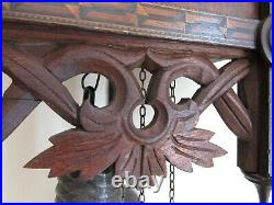 ANTIQUE cuckoo clock AMERICAN CUCKOO CLOCK CO. Carved wood inlay LARGE & WORKS