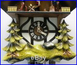 Animated German Black Forest Musical Wood Chopper Saw MILL Chalet Cuckoo Clock