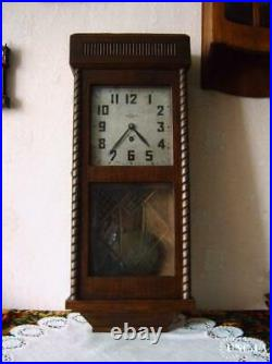 Antique 1936 USSR Wall Clock 2 Moscow ch. Z Walkers Hanged Decor Art Soviet Old