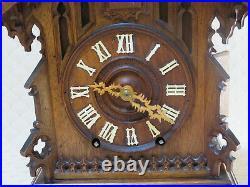 Antique Beha Twin Fusee Cuckoo Bracket Clock wood plate movement