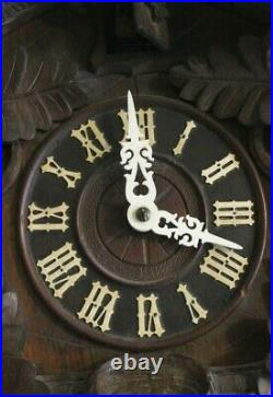 Antique Black Forest Cuckoo Clock Wooden Wall Clock Vintage