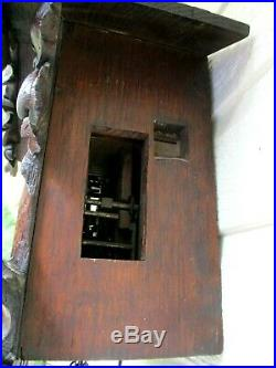 Antique Black Forest Wood Plate Cuckoo Clock Runs