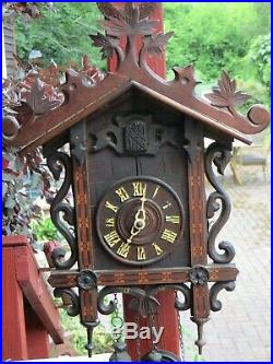 Antique Circa 1900 Bahnhausle Cuckoo Clock with Wood Inlay Black Forest