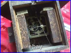 Antique Cuckoo Clock For Spares Or Repair Good Project With Wood Bird