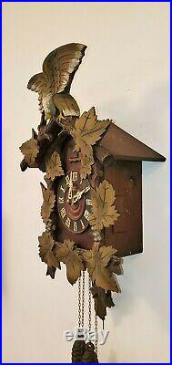 Antique Mauthe Cuckoo Clock Eagle Crest Black Forest Germany FMS Restored