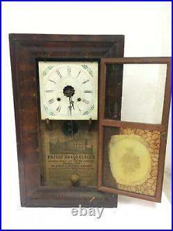 Antique Patent Brass Wall Clock with Hand Painted Artwork