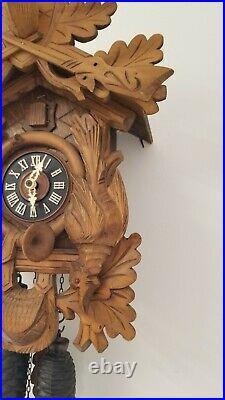 Antique Vintage Rare German Regula Black Forest Hunter Cuckoo Clock 8 Days AS IS