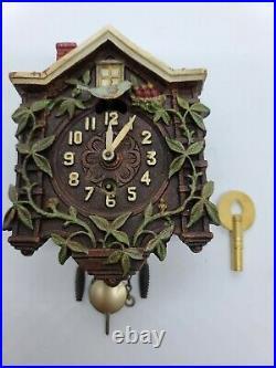 Antique Working 1935 Lux Animated Swinging Bluebird Cuckoo Pendulette Wall Clock