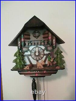 Anton Schneider Made in Germany Wood Chalet Cuckoo Clock Man Chopping Firewood