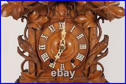 Beautiful Antique Bird & Vine Design Wood Plate Mantel Cuckoo Clock By Ketterer