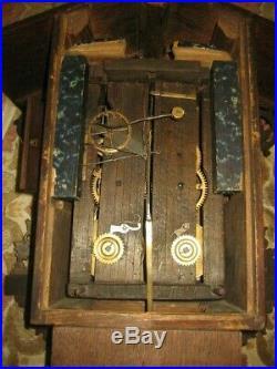 Beautiful Unusual Beha Twin Fusee Wood Plate Black Forest Cuckoo Clock