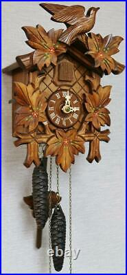 Beautiful Vintage German Black Forest Weight Driven Automaton Cuckoo Wall Clock