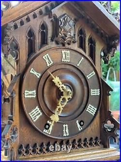 Beha Double Fusee Black Forest Mantel Cuckoo Clock Cir 1885