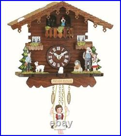 Black Forest Clock Swiss House, permanent turning dancers TU 505 SQ NEW