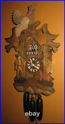 Black Forest Deep Carved Musical Animated Spinning Dancers Cuckoo Clock 8-day