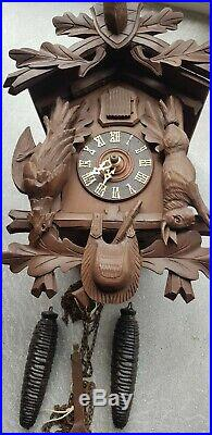 Black Forest German Double Weight Carved Cuckoo Clock