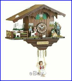 Black Forest Heidi Cuckoo & Musical Clock with Turning Goats Pendulum Kuckulino