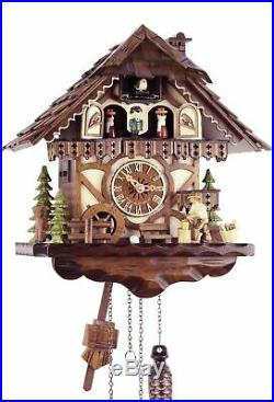 Black Forest House 33cm -kuckucksuhr Cuckoo Clock Real Wood New Battery Powered