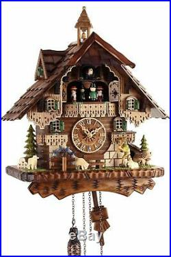 Black Forest House 42cm Cuckoo Clock Real Wood New Battery Powered