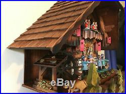 Black Forest Musical Mechanical Cuckoo Clock With Dancers Music Band& Waterwheel