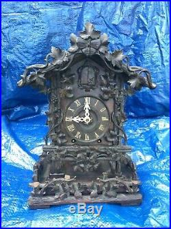 Black Forest Rare Cuckoo Clock Wood Plate Possibly Beha Or Ketterer Circa 1870