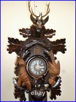 Breathtaking German Black Forest 8 Day Hunter Deer Head Carved Cuckoo Clock