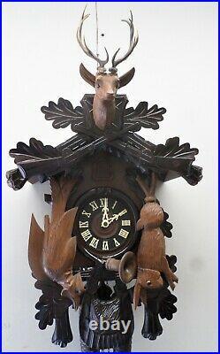 Breathtaking German Black Forest Large Hunter Deer 8 Day Carved Cuckoo Clock