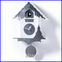 CHALET white an handmade silver leaf Exclusive Wall Cuckoo Clock