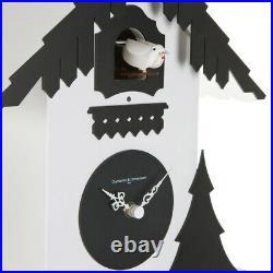 CHALET white / black Cuckoo Clock Swiss house reinterpreted in a modern style