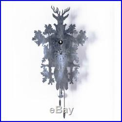CUCU silver LEAF Luxury design clock with cuckoo and pendulum