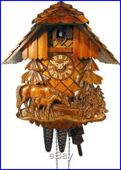 Cuckoo Clock Authentic Black Forest House Relif, Horse & Child August Schwer New