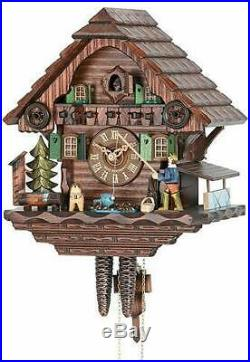 Cuckoo Clock Black Forest Chalet House Fisherman 1-Day Movement by Hekas New