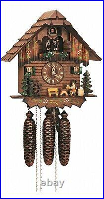 Cuckoo Clock Black Forest house with moving beer drinker a. SC 8TMT 5403/10 NEW
