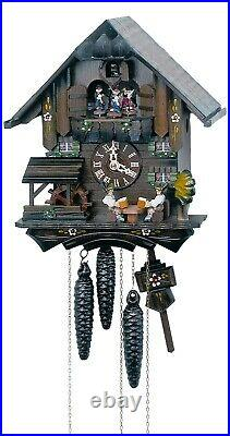 Cuckoo Clock Black Forest house with moving beer drinkers an. SC MT 1407/10 NEW