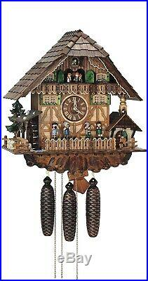 Cuckoo Clock Black Forest house with moving bell ringer and. SC 8TMT 1373/9 NEW