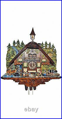 Cuckoo Clock Black Forest house with moving wood chopper an. SC 8TMT 1020/9 NEW
