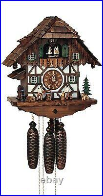 Cuckoo Clock Black Forest house with moving wood chopper an. SC 8TMT 5483/9 NEW
