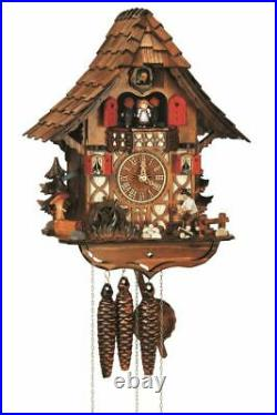 Cuckoo Clock Black Forest house with moving wood chopper and. SC MT 1683/9 NEW