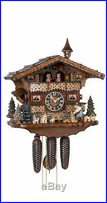 Cuckoo Clock Black Forest house with moving wood chopper and mil. HO 86245T NEW