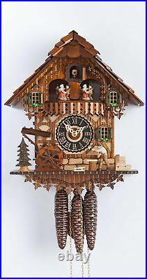 Cuckoo Clock Black Forest house with moving wood chopper and mill. HO 696T NEW