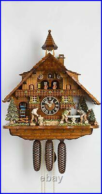 Cuckoo Clock Black Forest house with moving wood chopper, mill w. HO 86275T NEW