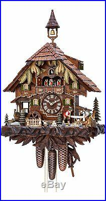 Cuckoo Clock Black Forest house with moving wood sawers and m. KA 3751/8 EX NEW