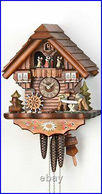 Cuckoo Clock Black Forest house with moving wood sawers and mil. KA 3619 EX NEW