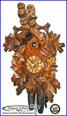 Cuckoo Clock Black Forest with Two Owls and Nest 8-Day Movement August Schwer