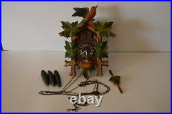 Cuckoo Clock Vintage E. Schmeckenbecher Germany Parts or Repair Wood Cast Iron