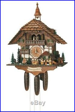 Cuckoo Clock moveable kissing Couple, 2 Beer Drinkers SC 8TMT 1565/9 NEW