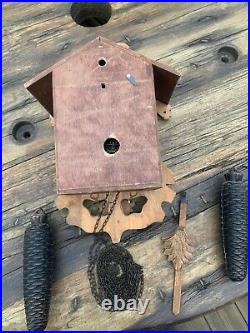 Cuckoo clock, Black Forest/German/Vintage, Carved Painted Wood / squirrel