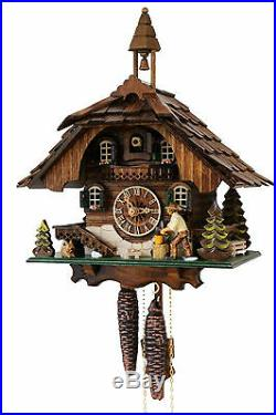 Cuckoo clock black forest 1 day german wood chopper mechanical new